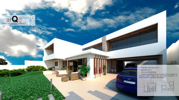 CASA Fachada perspectiva: Casas unifamiliares de estilo  por ARQD spa