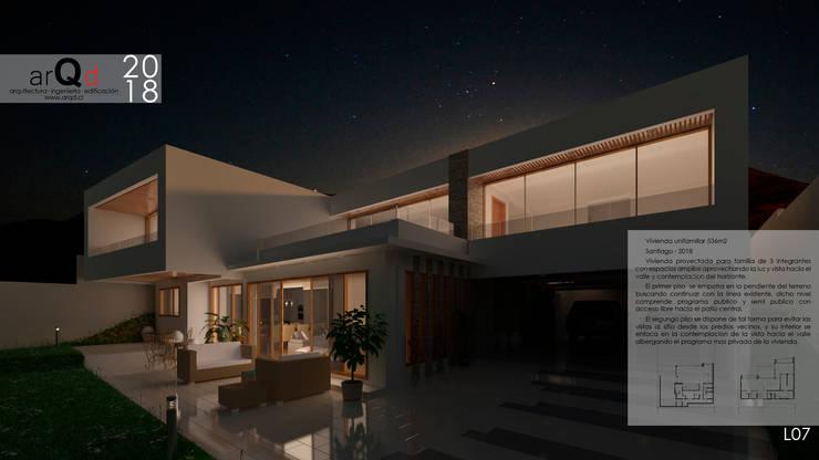 CASA Simulacion Nocturna: Casas de estilo  por ARQD spa