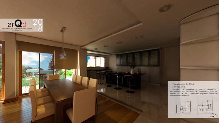 CASA Interior primer nivel: Casas unifamiliares de estilo  por ARQD spa
