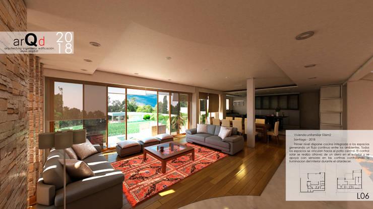 CASA Interior 1er Piso: Casas unifamiliares de estilo  por ARQD spa