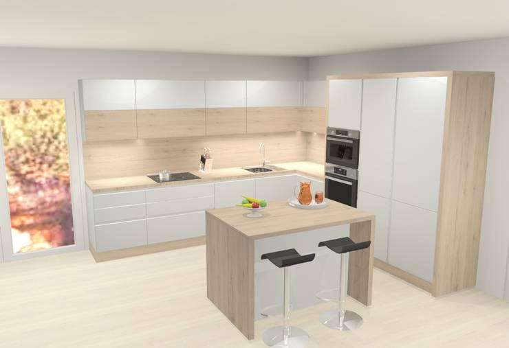 Moderne Küche mit Insel von 3D Design online | homify