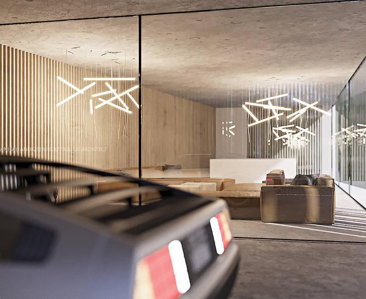 Dom biały: styl , w kategorii  zaprojektowany przez ANIEA Andrzej Niegrzybowski architekt