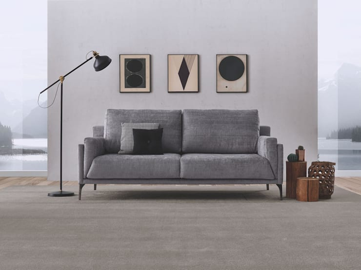 SOFÁ 3 LUGARES LINHA KOBE : Sala de estar  por 7eva design  - Arquitectura e Interiores,