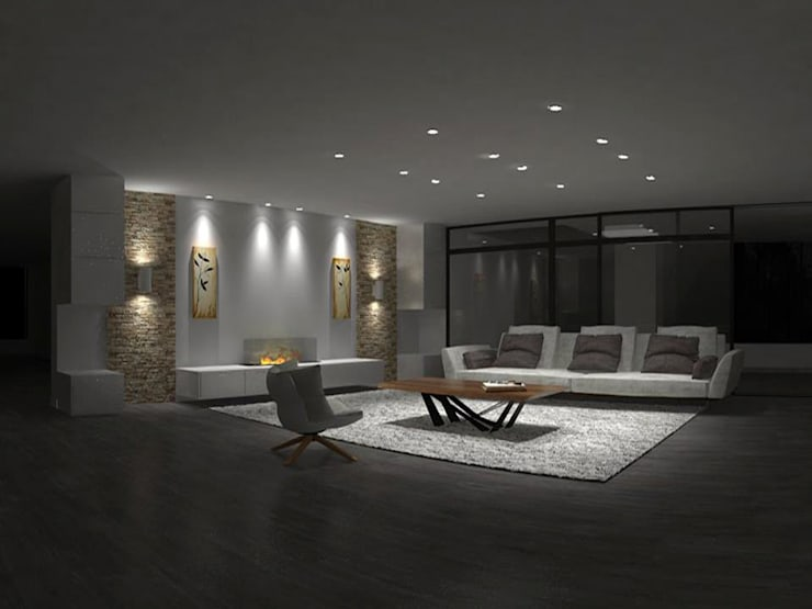 Diseño Interior, apto Katay. : Salas de estilo  por ARQUINEX, Moderno Madera Acabado en madera