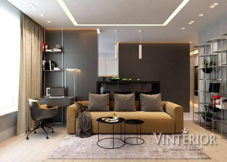 Modern flat  for young family: Гостиная в . Автор – Vinterior - дизайн интерьера