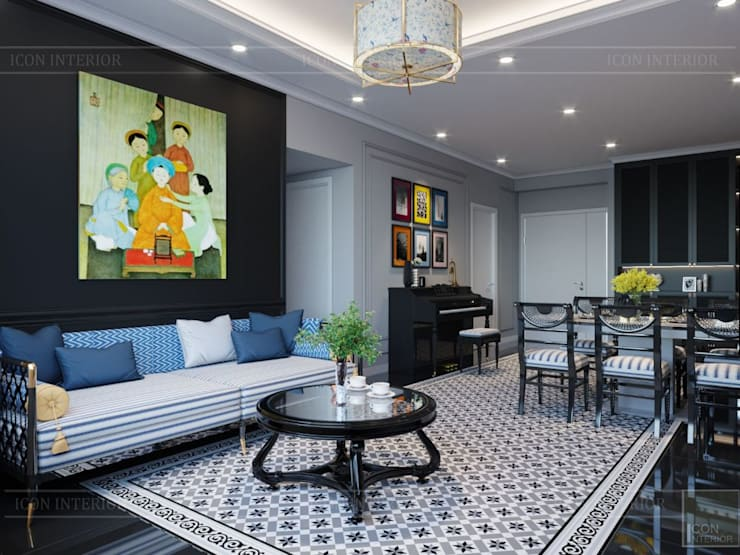 PHONG CÁCH ĐÔNG DƯƠNG – Một vẻ đẹp thuần túy trong Thiết kế căn hộ Saigon Pearl :  Phòng khách by ICON INTERIOR