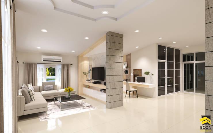 ผลงานการออกแบบตกแต่งภายในบ้านพักอาศัย:  ห้องนั่งเล่น by Bcon Interior