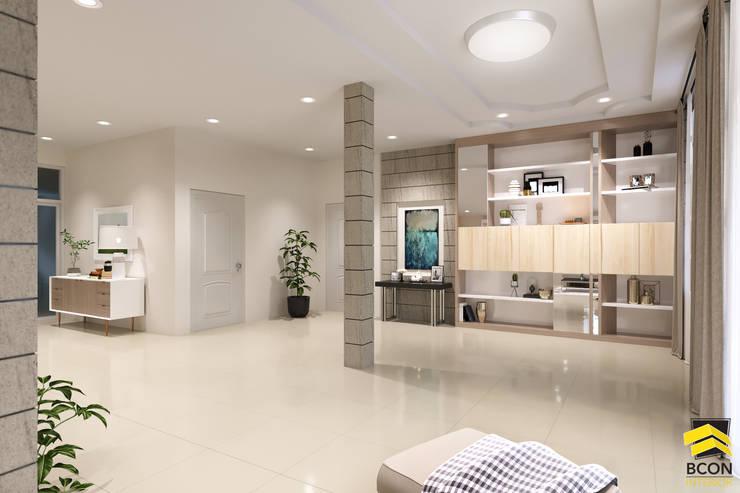 ผลงานการออกแบบตกแต่งภายในบ้านพักอาศัย:  พื้นและกำแพง by Bcon Interior