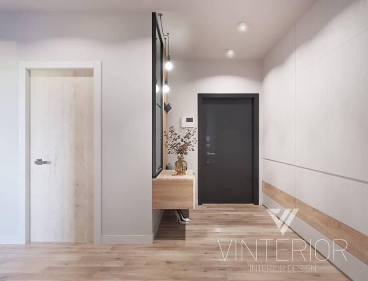 Modern combination of minimalism for young couple Minimalistischer Flur, Diele & Treppenhaus von Vinterior - дизайн интерьера Minimalistisch
