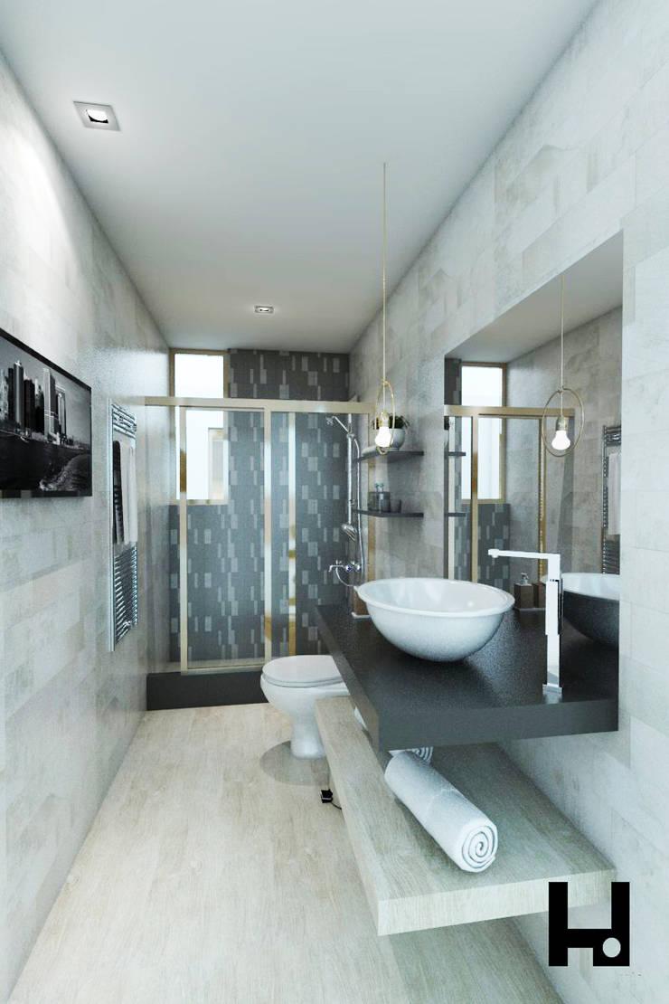 VIVIENDA PEDRO URRACA: Baños de estilo  por HANS DIETER ARQUITECTO