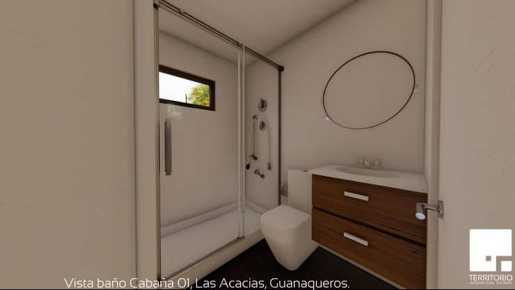 Cabaña 01 - Baño: Baños de estilo  por Territorio Arquitectura y Construccion - La Serena