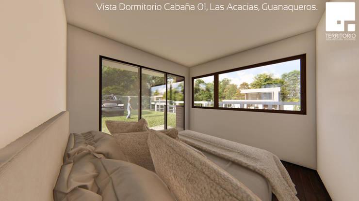 Cabaña 01 - Dormitorio: Dormitorios de estilo  por Territorio Arquitectura y Construccion - La Serena