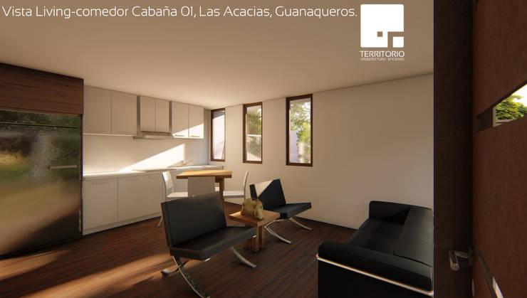 Cabaña 01 - Living Comedor: Livings de estilo  por Territorio Arquitectura y Construccion - La Serena