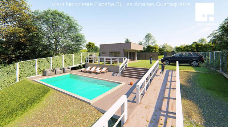 Vista Nororiente de la Cabaña 01: Piscinas de estilo  por Territorio Arquitectura y Construccion - La Serena