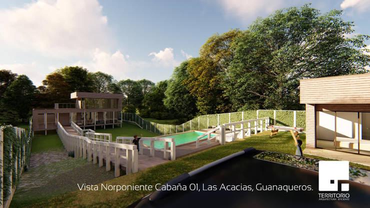 Vista Norponiente de la Cabaña 01: Jardines de estilo  por Territorio Arquitectura y Construccion - La Serena
