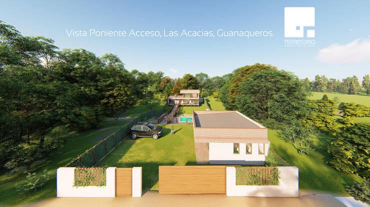Acceso al complejo - Vista Poniente: Cabañas de estilo  por Territorio Arquitectura y Construccion - La Serena