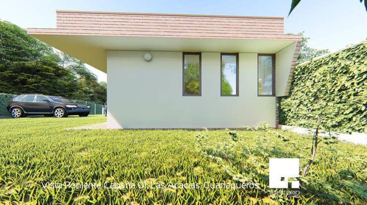Vista Poniente de la Cabaña 01: Cabañas de estilo  por Territorio Arquitectura y Construccion - La Serena