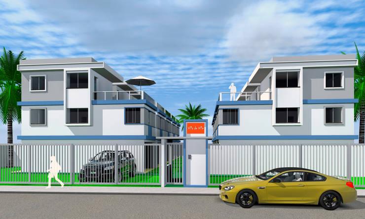Fachada com guaritas e estacionamentos individuais : Vilas  por ARQ-PB Arquitetura e Construção,Moderno Tijolo