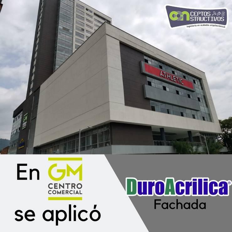 Fachada centro comercial: Espacios comerciales de estilo  por Milena Rojas Construcciones