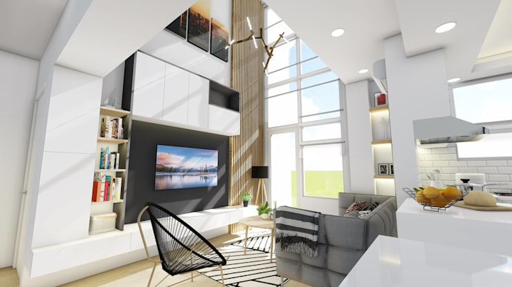 New TV Wall:  Living room by Structura Architects
