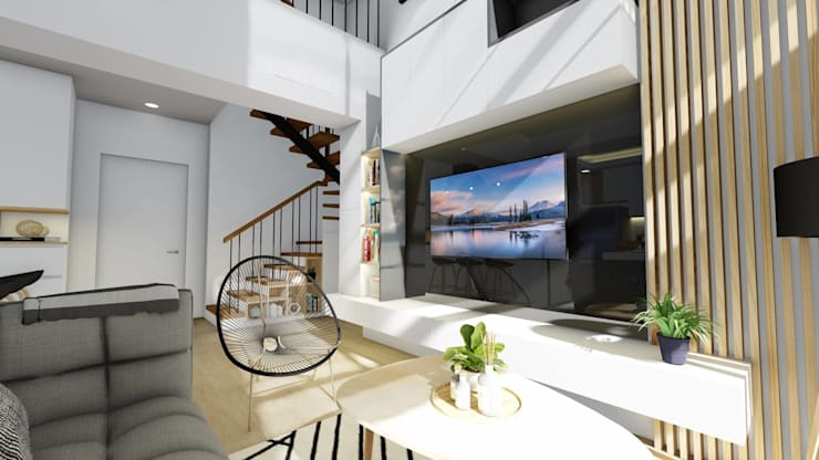 Interior Fit-Out and Design for a Condo Unit:  Living room by Structura Architects