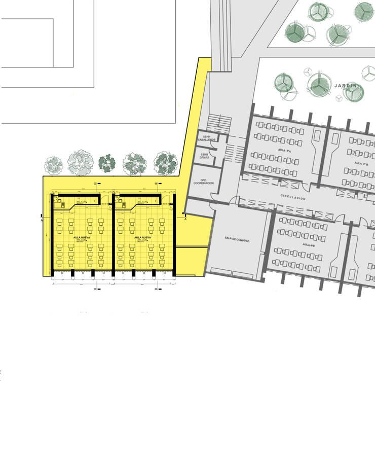 Integración esquemática aulas nuevas _colegio Montessori : Anexos de estilo  por Marcelo Juárez Trelles