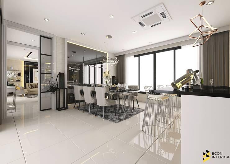 ผลงานการออกแบบตกแต่งภายในบ้านพักอาศัย:  ห้องทานข้าว by Bcon Interior