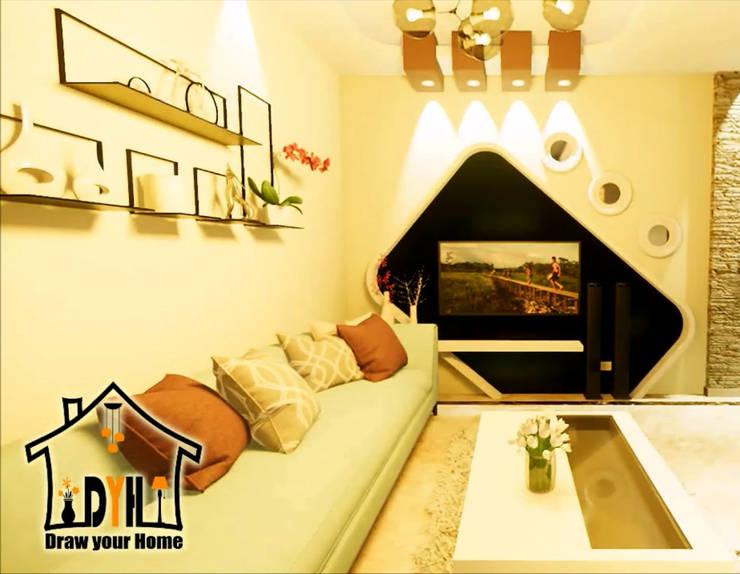 غرفة معيشة تصميم حديث من Draw your home إرسم بيتك إستعماري
