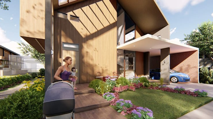 View of Entrance Steps and Porch:  Single family home by Structura Architects