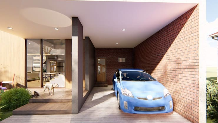 View of Garage:  Carport by Structura Architects