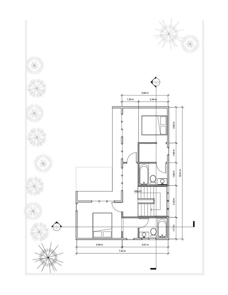 Planta 2° piso: Casas de estilo  por Constructora Alonso Spa