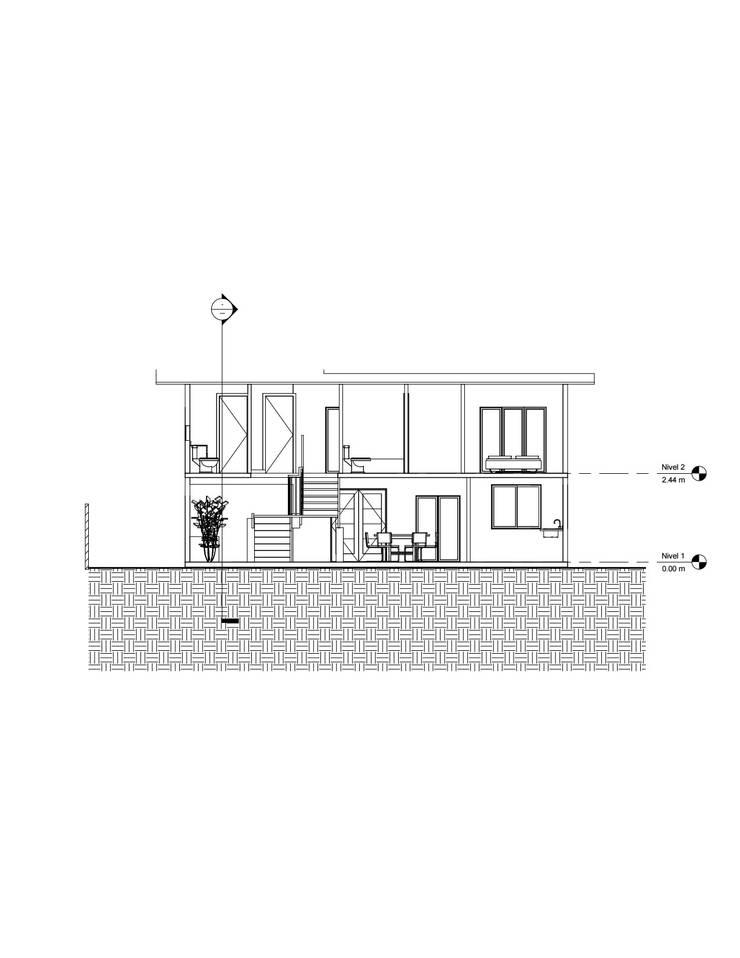 Corte longitudinal: Casas de estilo  por Constructora Alonso Spa