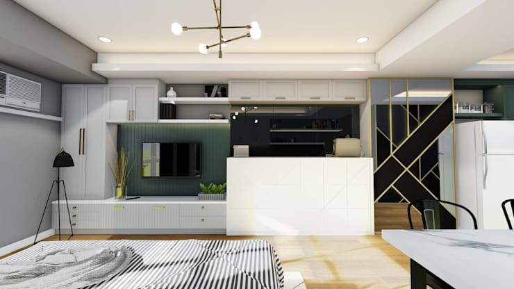 New Media Wall with Custom Murphy Bed:  Small bedroom by Structura Architects
