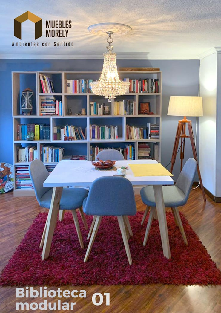 Biblioteca en madera:  de estilo  por Carpintería Muebles Morely, Moderno Tablero DM
