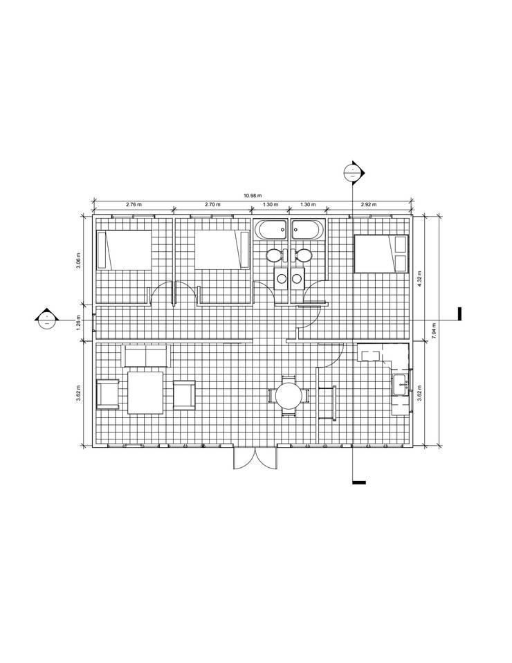 Planta 1° piso: Dormitorios de estilo  por Constructora Alonso Spa