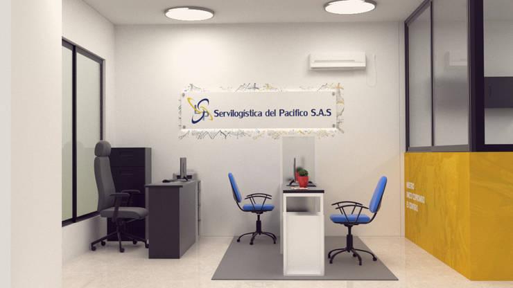 Diseño de oficina servi logística.: Estudios y despachos de estilo  por Magrev estudio
