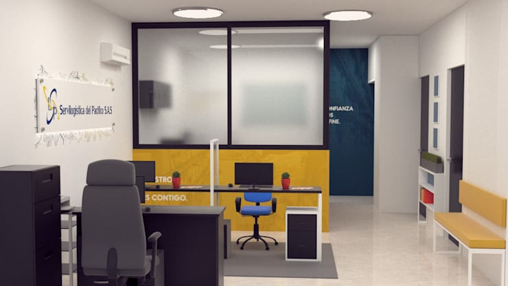 Diseño de oficina servi logística del pacifico. : Edificios de oficinas de estilo  por Magrev
