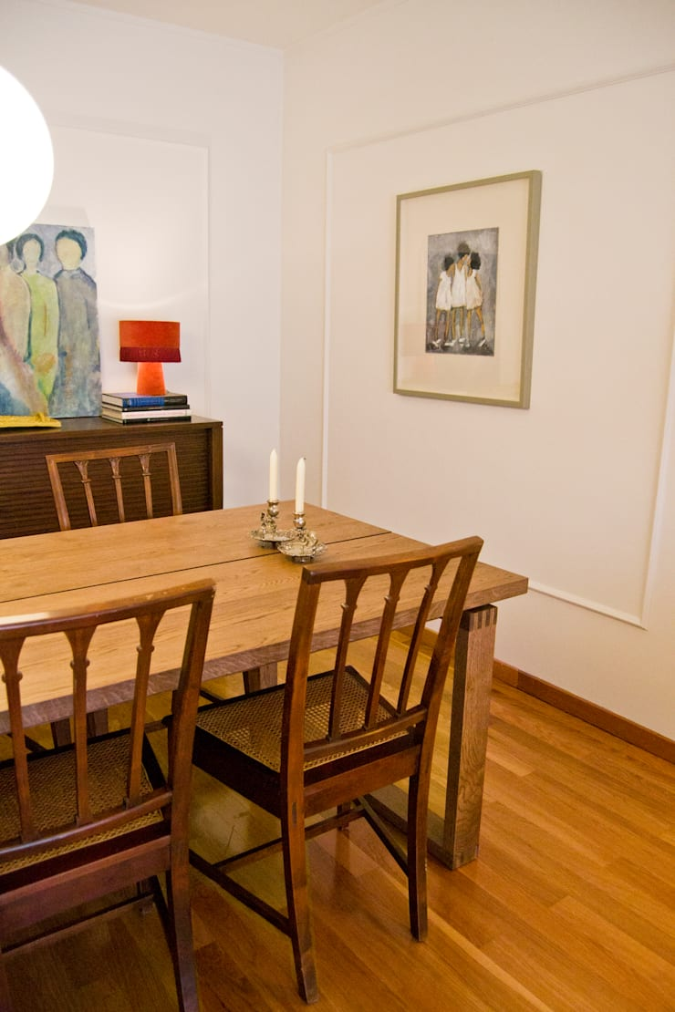 Comedores de estilo  por Tangerinas e Pêssegos - Design de Interiores & Decoração no Porto, Ecléctico Madera Acabado en madera