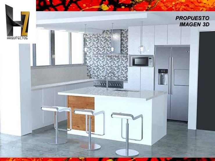 PROPUESTA DISEÑO DE COCINA - RENDER - IMAGEN 3D: Cocinas de estilo  por HZ ARQUITECTOS ARQUITECTOS SANTIAGO DISEÑO COCINAS JARDINES REMODELACIONES