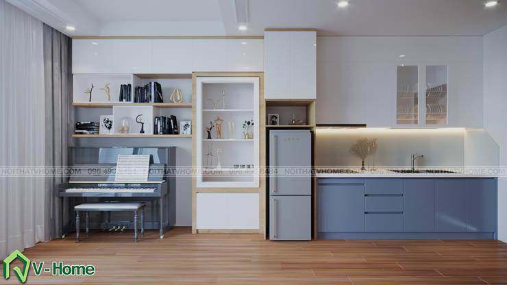 Thiết kế nội thất căn hộ chung cư Green Bay, Mễ Trì – Mr.Linh:  Kitchen by Công ty CP tư vấn thiết kế và xây dựng V-Home