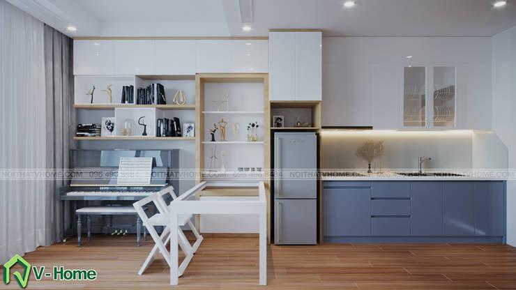 Thiết kế nội thất căn hộ chung cư Green Bay, Mễ Trì – Mr.Linh:  Dining room by Công ty CP tư vấn thiết kế và xây dựng V-Home