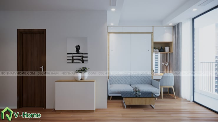Thiết kế nội thất căn hộ chung cư Green Bay, Mễ Trì – Mr.Linh:  Bedroom by Công ty CP tư vấn thiết kế và xây dựng V-Home