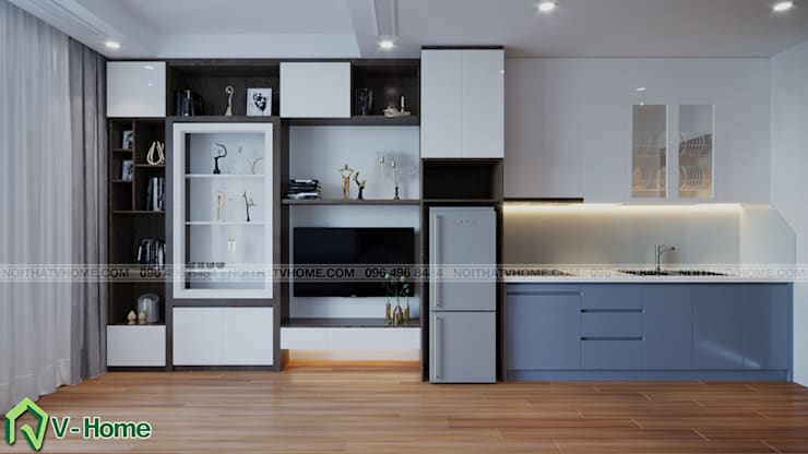 Thiết kế nội thất căn hộ chung cư Green Bay, Mễ Trì – Mr.Linh:  Living room by Công ty CP tư vấn thiết kế và xây dựng V-Home