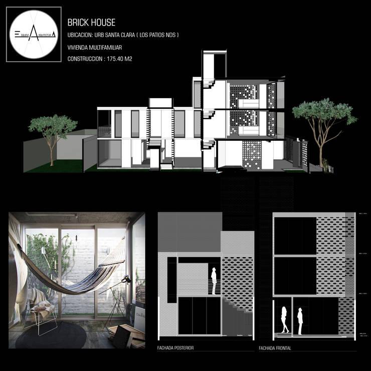 BRICK HOUSE: Casas multifamiliares de estilo  por ESQUEMA ARQUITECTURA, Minimalista Ladrillos