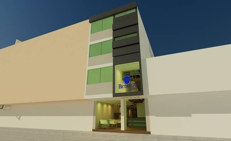 Diseño de fachada: Hoteles de estilo  por CAMALEON DISEÑOS, Minimalista