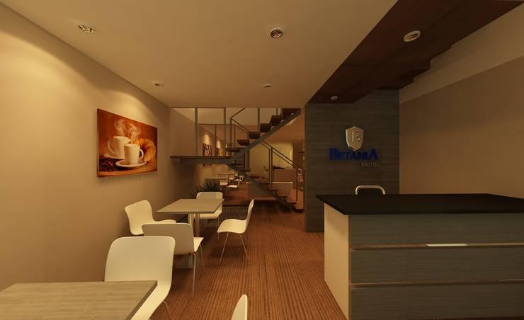 Diseño de áreas comunes: Hoteles de estilo  por CAMALEON DISEÑOS