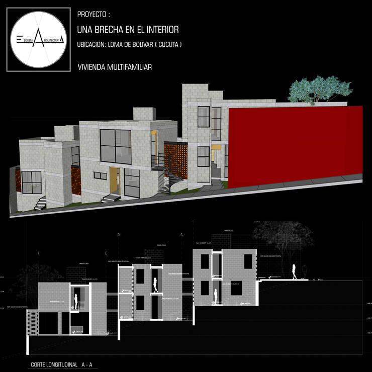 UNA BRECHA EN EL INTERIOR: Casas multifamiliares de estilo  por ESQUEMA ARQUITECTURA