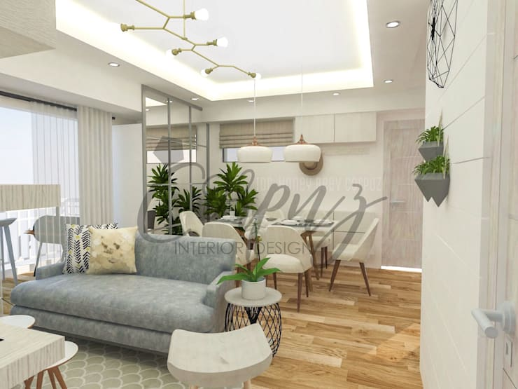 Modern Chic: Aesthetically functional:  Living room by Corpuz interior design