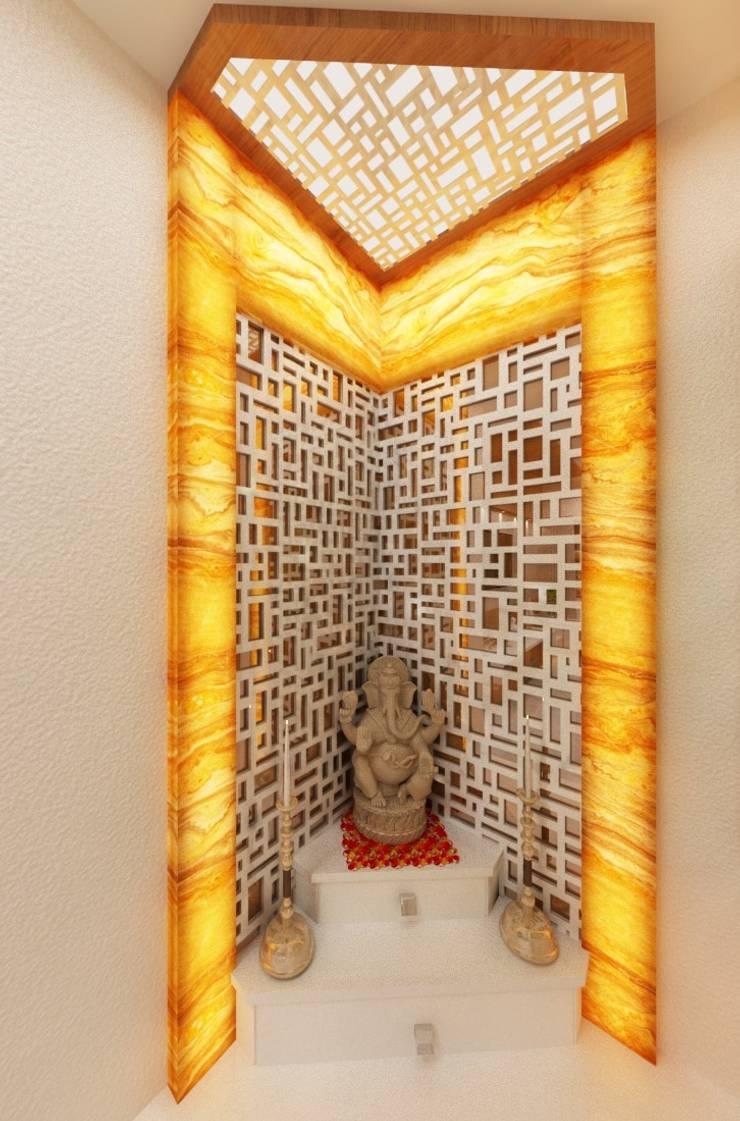 Pooja Setup:  Corridor & hallway by Square 4 Design & Build,Modern
