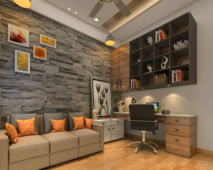 Living room and storage areas:  Living room by Square 4 Design & Build,Modern